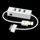 3-Port USB 2.0 HUB with Charging Cable for iPhone & iPad - White