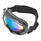 Protection Safety Skiing Glasses / Goggles with Elastic Strap - Black
