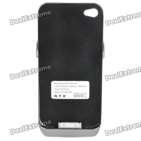 5V/1800mAh Rechargeable External Battery Case for iPhone 4/4S - Black