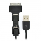 USB Male to Mini USB / Micro USB / Apple 30 Pin Male Data / Charging Cable - Black (95cm)