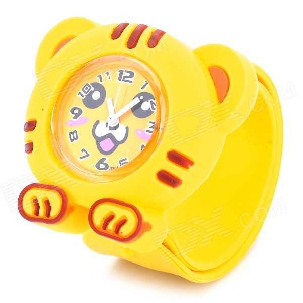 Cute Tiger Style Silicone Quartz Movement Slap Band Wrist Watch for Kids - Yellow (1 x SR626)