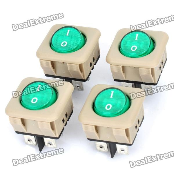 4-Pin Switch w/ Green Indicator for Car / Boat / Motorcycle (4-Pack)