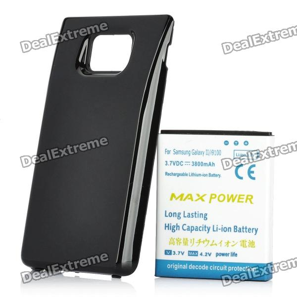 Replacement 3.7V 3800mAh Extended Battery w/ Back Cover for Samsung Galaxy S II / i9100 - Black replacement back camera circle lens for samsung galaxy s5 g900 black