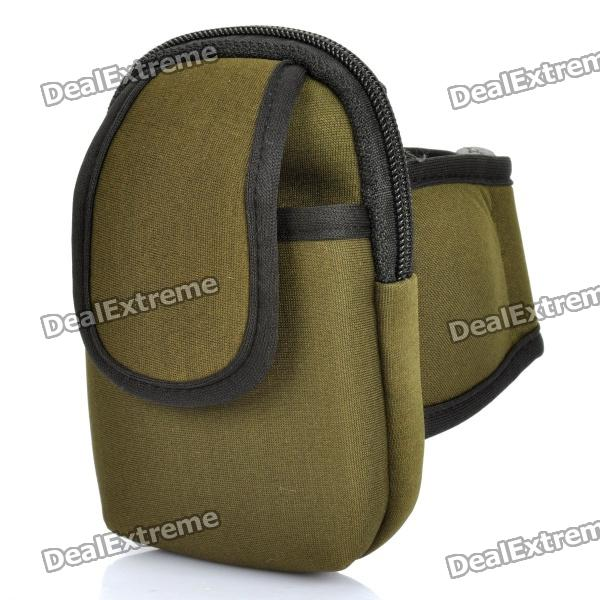 Zippered Sports Armband Bag Pouch for Iphone 4 - Army Green sd 303 5mw 650nm red laser pointer gypsophila flashlight black 1 x 18650