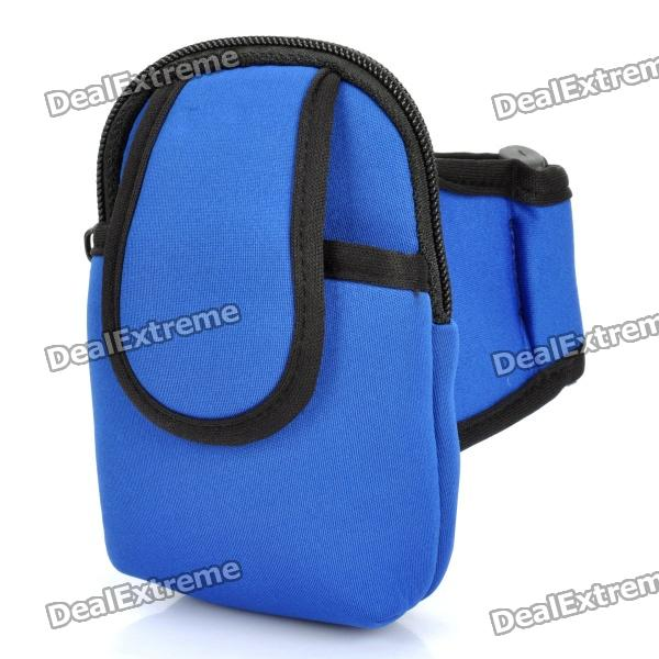 Zippered Sports Armband Bag Pouch for Iphone 4 - Light Blue zippered sports armband bag pouch for iphone 4 dark blue