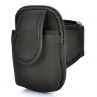 Zippered Sports Armband Bag Pouch for iPhone 4 - Black