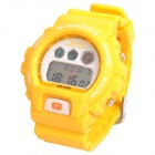Multifunction Sports Digital Wrist Watch w/ Data/Alarm/Week/EL Backlit - Yellow (1 x CR2025)