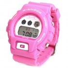Multifunction Sports Digital Wrist Watch w/ Data/Alarm/Week/EL Backlit - Pink (1 x CR2025)