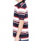 Fashion Horizontal Stripe Short Sleeves Polo Shirt T-Shirt - Dark Blue + Red + White (Size-L)