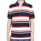 Fashion Horizontal Stripe Short Sleeves Polo Shirt T-Shirt - Dark Blue + Red + White (Size-XL)