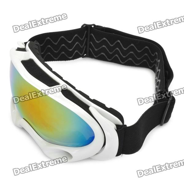 Protection Safety Skiing Glasses / Goggles with Elastic Strap - White