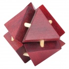 8-Triangle Wooden Block Brain Teaser Puzzle Toy - Brown