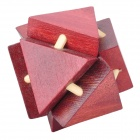 8-Triangle Wooden Block Brain Teaser Puzzle Toy - Red Brown