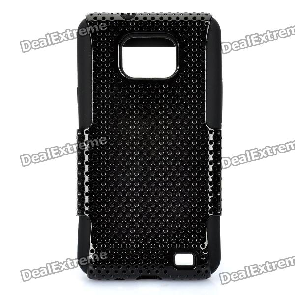 Protective Silicone Back Case w/ TPU Mesh Cover for Samsung i9100 - Black