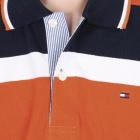 Fashion Horizontal Stripe Short Sleeves Polo Shirt T-Shirt - Orange + Dark Blue + White (Size-L)