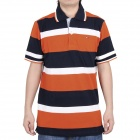 Fashion Horizontal Stripe Short Sleeves Polo Shirt T-Shirt - Orange + Dark Blue + White (Size-XL)