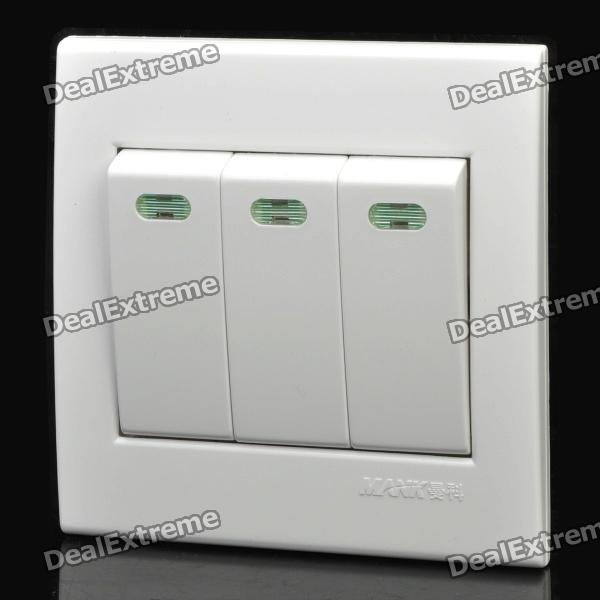 3-Button Single Control Wall Rocker Switch - White