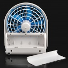 Mini 5-Blade USB + Battery Powered Cooling Fan - White + Blue