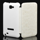 Protective Leather Flip Cover Plastic Case for Samsung Galaxy Note i9220 - White