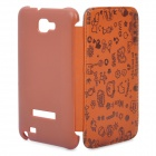 Protective Leather Flip Cover Plastic Case for Samsung Galaxy Note i9220 - Brown