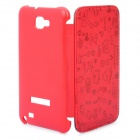 Protective Leather Flip Cover Plastic Case for Samsung Galaxy Note i9220 - Red