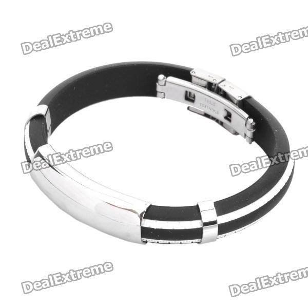 Stainless Steel Pressure Reduction Magnetic Bracelets Bangles - Black + White stylish survival glowing in the dark paracord bracelet with stainless steel buckle white