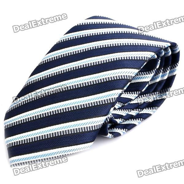 fashion-men-diagonal-striped-pattern-tie-blue-grey