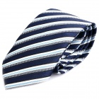 Fashion Men's Diagonal Striped Pattern Tie - Blue + Grey