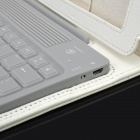 Bluetooth V3.0 Wireless 78-Key Keyboard w/ Protective PU Leather Case for Apple New iPad - White