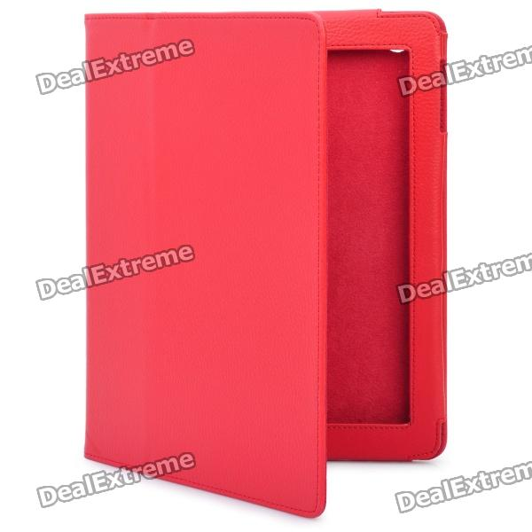Stylish Protective Holder Leather Case for The New Ipad - Red цена и фото