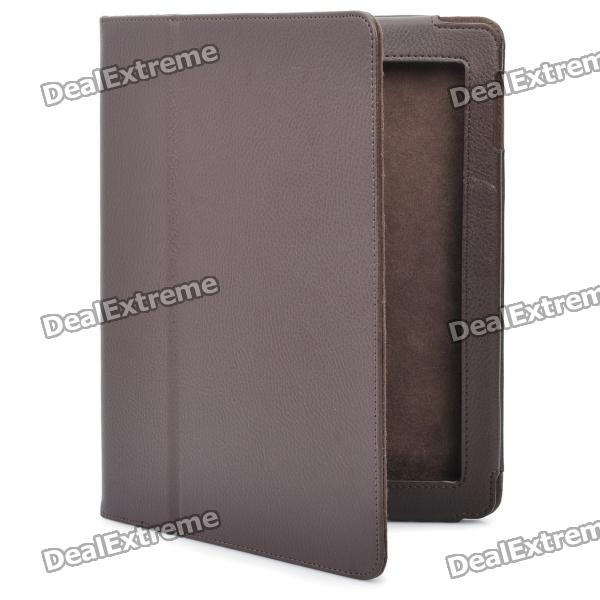 Stylish Protective Holder Leather Case for The New Ipad - Brown