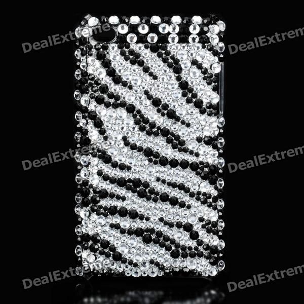 Stylish Acrylic Diamond Protective Back Case for Ipod Touch 4 - Black + Silver