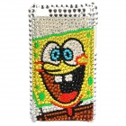 Fashion SpongeBob Acrylic Diamond Protective Back Case for iPod Touch 4 - Silver + Yellow