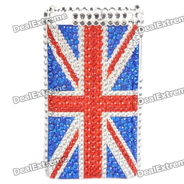 Fashion UK Flag Acrylic Diamond Protective Back Case for Ipod Touch 4 - Red + Blue + Silver