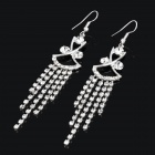 MAGICUTE Elegant Rhinestone Aeolian Bells Style Earrings - Silver (Pair)