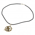 Zinc Alloy The Hunger Games Mockingjay Style Pendant  Necklace w/ PU Leather Chain - Bronze
