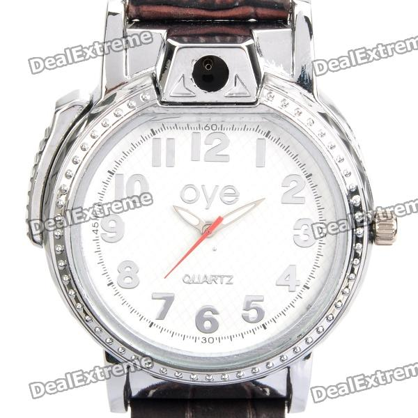 Cool 2-in-1 PU Leather Band Wrist Watch w/ Butane Flame Lighter - White (1 x SR626SW)