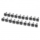 Mini 8.5mm 6-Pin Non-Locking Push Button Square Switches - Black (DC 30V / 20-Pack)