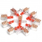 2 Row 6 Pin Type Unidirectional Push Button Switch - Red + Silver (10-Piece Pack)