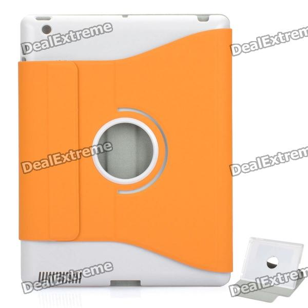 Protective PU Leather Case w/ Swivel ABS Holder for   New Ipad - Orange