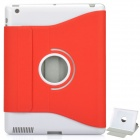 Protective PU Leather Case w/ Swivel ABS Holder for Apple New iPad - Red