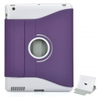 Protective PU Leather Case w/ Swivel ABS Holder for Apple New iPad - Purple