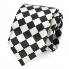 Casual Checked Pattern Zip Up Tie Necktie - Black + White