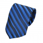 Fashion Men's Diagonal Striped Pattern Tie - Deep Blue