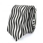 Casual Zebra-Stripe Pattern Zip Up Tie Necktie - Black + White