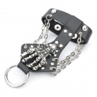 Cool Skeleton Hand Style Wristband Slave Bracelet w/ Ring - Black + Silver