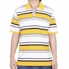Fashion Horizontal Stripe Short Sleeves Polo Shirt T-Shirt - Yellow + White + Black (Size-XL)
