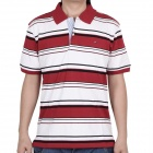 Fashion Horizontal Stripe Short Sleeves Polo Shirt T-Shirt for Men - Red + Black + White (Size-L)