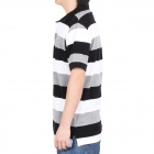 Fashion Horizontal Stripe Short Sleeves Polo Shirt T-Shirt for Men - Black + White + Grey (Size-M)