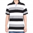 Fashion Horizontal Stripe Short Sleeves Polo Shirt T-Shirt for Men - Black + White + Grey (Size-XL)